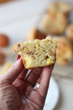 Good Morning Muffins. Scrambled eggs, bacon and cheese all baked into a muffin for on-the-go ease!