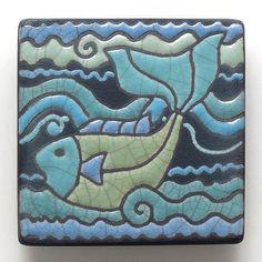 Fish,Ceramic tile, Blue Green,handmade 3x3 raku fired art tile, wall art