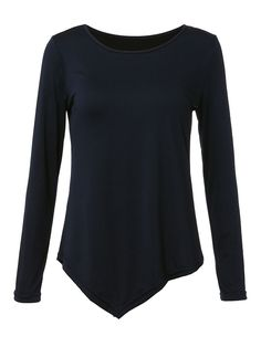 3f5a7f5f76 Asymmetrical Casual Navy Long Sleeve Round Neck Women T-Shirt