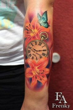 Flower Butterfly Clock Arm Tattoo bunt