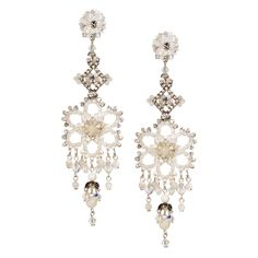 JJ Caprices - Crystal and Mother of Pearl Pendant Earrings by DUBLOS