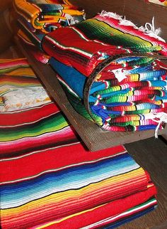 Colorful zarape blankets from Mexico Southwestern Style Decor, Mexico People, Mexican Heritage, Mexico Art, Strip Quilts, Arte Popular, Color Of Life, Restaurant Design, Color Splash