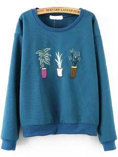 Plant Embroidered Blue Sweatshirt