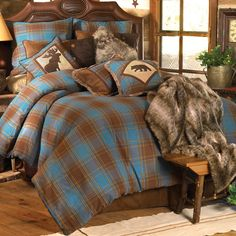 Cabin Bedding Blue Plaid Comforter Set - Lodge Bedding