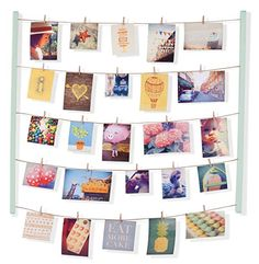Umbra Hangit Photo Display - DIY Picture Frames Collage Set Includes Picture Hanging Wire Twine Cords, Natural Wood Wall Mounts and Clothespin Clips for Hanging Photos, Prints and Artwork (Natural) * See this great product. (This is an affiliate link) Collage Des Photos, Collage Picture Frames, Wall Collage, Picture Boards, Picture On Wood, Picture Walls, Picture Wire, White Picture, Find Picture
