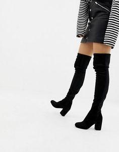 5c9269d6cf6 ASOS DESIGN Slim Kadi heeled over the knee boots Flat Boots