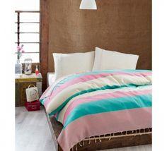 Cuvertura Pique Natural - Mint/Roz Natural, Comforters, Mint, Blanket, Bed, Stuff To Buy, Furniture, Home Decor, Pique