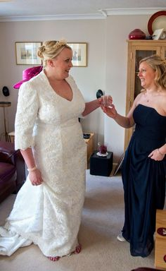 Another of our happy brides after choosing a custom-made wedding dress. We pride ourselves on helping brides look and feel their very best on their special day Older Bride, Dressmaker, Bride Look, Mother Of The Bride, Weddingideas, Getting Married, Wedding Gowns, Brides, Prom Dresses