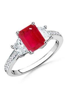 Emerald Cut Ruby and Trapezoid Diamond Three Stone Ring from Angara - $2,999.99  - trendme.net