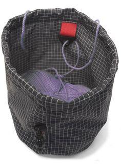 Tom Bihn's yarn stuff sack.  Love the grommet for feeding yarn through -- brilliant!