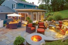 Backyard Fire Pit Patio by Gasper Fire Pit Grill, Fire Pit Backyard, Backyard Patio Designs, Backyard Landscaping, Backyard Seating, Backyard Ideas, Porch Designs, Outdoor Spaces, Outdoor Living