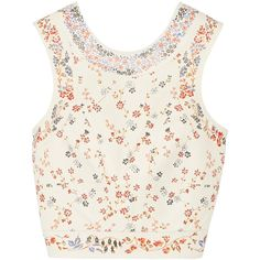 Etro Cropped floral-print leather top (8.700 RON) ❤ liked on Polyvore featuring tops, crop top, shirts, white, floral shirt, leather shirt, white crop top and boho tops