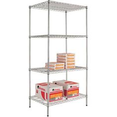 Alera Wire Shelving Starter Kit, 36w x 24d x 72h, 4 Shelves, Available in Multiple Colors, Silver