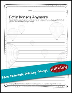 Free printable writing prompt -- hot air balloon ride