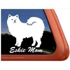 Eskie Mom American Eskimo Dog Vinyl Window Decal Sticker