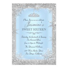 Silver Winter Wonderland Blue Sweet 16 Invitation