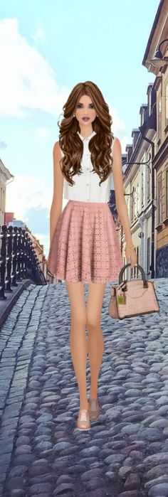 Top Look for the Romantic Fiction Heroine event in #covetfashion styled by XOCozICanOX. Wearing an Obakki blouse, LaMarque skirt and Miista shoes.