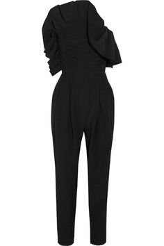 Carmen March - One-shoulder Ruffled Taffeta Jumpsuit - Black - FR40