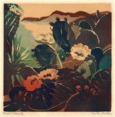 "Eva Auld Watson: ""Desert Roses"", circa 1925; color linocut."