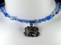 Blue Beaded Choker Blue Choker Blue Beaded by DeelitefulJewelry, $35.00