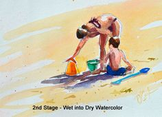 How to Paint Beach Figures-Quickly sketch in pencil your beach figures. No need to be too accurate. (I know that part is tough for me too.) Using a large mop paintbrush load lots of water and watercolor paint into the brush.