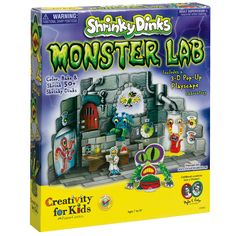 Shrinky Dinks Monster Lab Are you ready for some extreme Shrinky Dink fun? Get ready to color, bake and shrink the most creative creatures ever with The Shrinky Dinks Monster Lab! Birthday Supplies, Birthday Party Themes, Party Supplies, Birthday Ideas, Kits For Kids, Crafts For Kids, Monster Room, Monster High Birthday, Cool Monsters