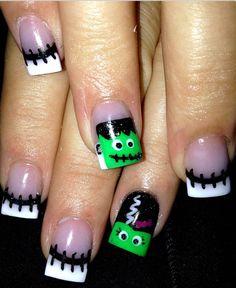 Halloween nails : Frankenstein : spooky