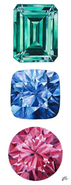 This collection features watercolor gems in various shapes and colors, highlighting the many facets and unique characteristics of each stone. Gem Drawing, Painting & Drawing, Diamond Art, Diamond Drawing, Jewelry Design Drawing, Jewelry Illustration, Guache, Jewellery Sketches, Painting Inspiration