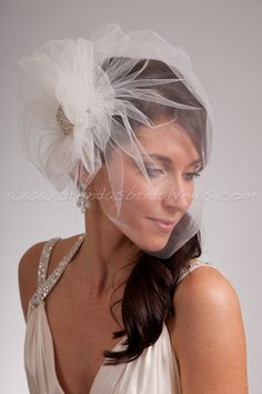 Bridal Veil Set, Tulle Side Blusher Birdcage Veil and Tulle Bridal Pouf with Crystal Brooch      I adore this, too much.