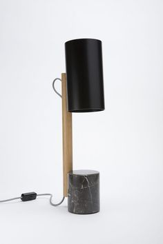 Quart Table lamp - Oak / Black marble
