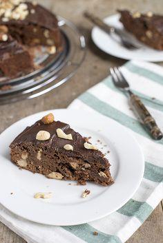Brownietaart met noten | via BrendaKookt.nl