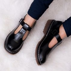 1f27ffef5f3d SNATCHED Buckle Mary Jane T Bar Flat Shoes - Black Leather Style