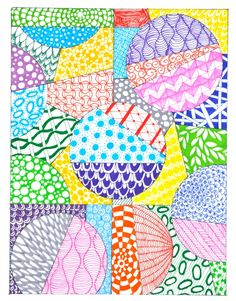 Colorful Zentangle patterns - plus more zentangle ideas and tangle starter pages