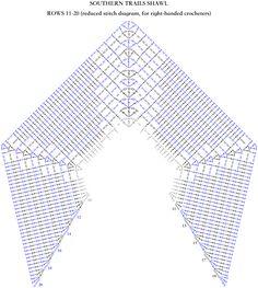 Southern Trails Shawl Stitch Diagram Rows 11-20 - ELK Studio - Handcrafted Crochet Designs