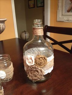 DIY rustic wedding decor with twine, lace and burlap. Easy!!!  (would look amazing with red and white roses or wild flowers)