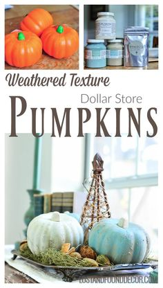 Painted Dollar Store Pumpkins | How to Get a Weathered Texture Finish with Fresco by Fusion Mineral Paint