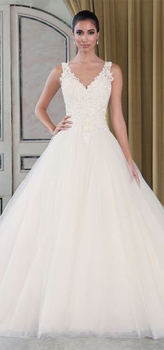 Elegant Tulle V-neck Neckline Ball Gown Wedding Dresses with Venice Lace