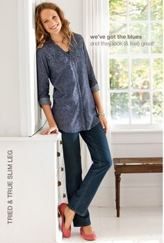 Women's apparel, accessories, and footwear from J. Modest Pants, Chambray Tunic, Style Me, Classy Style, Slim Legs, Fashion Outfits, Fashion Ideas, To My Daughter, Jeans