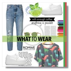 """""""Romwe Contest"""" by mini-kitty ❤ liked on Polyvore featuring Levi's and Oliver Peoples"""