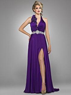 Halter  Hand-Made Flower Sleeveless Floor-length Chiffon Grape Prom Dress / Evening Dress
