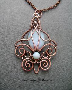 Copper wire sculpted pendant