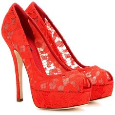 Dolce & Gabbana Lace Open-toe Pumps In Red Lace High Heels, Red High Heel Shoes, Lace Pumps, Red Pumps, Open Toe Shoes, Red Heels, High Heel Pumps, Pump Shoes, Court Shoes
