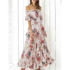 SHARE & Get it FREE   Bohemian Off The Shoulder Floral Shirred Flounce Maxi Dress For WomenFor Fashion Lovers only:80,000+ Items • FREE SHIPPING Join Twinkledeals: Get YOUR $50 NOW!