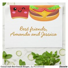 Casual style Best friends Burger Fries custom text Kitchen Towel Create Your Own, Create Yourself, Kawaii Illustration, Personalized Buttons, Burger And Fries, Bff Gifts, Kitchen Towels, I Am Awesome, Best Friends