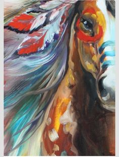 OnlineHand Painted Animal Oil Painting original oil painting indian war horse breaking dawn On Canvas Art impasto paintings WalI Decor Native American Face Paint, Native American Horses, Native American Paintings, American Indians, Native American Bedroom, Native American Drawing, American Indian Art, Art Abstrait, Equine Art