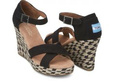Black Mixed Rope Women's Strappy Wedges | TOMS.com