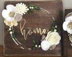 Felt Flower Sign-let love grow by SunshineandBloom on Etsy