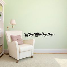 Small Wild Running Herd of Horses Shilouettes - Wall Decal Custom Vinyl Art Stickers on Etsy, $20.00
