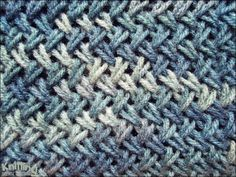 The Cross stitch is very similar to herringbone stitch and it will look amazing on scarves, bags or accessory project. The stitch is a bit more time consuming and it might be a bit more challenging to beginners. | knittingstitchpatterns.com