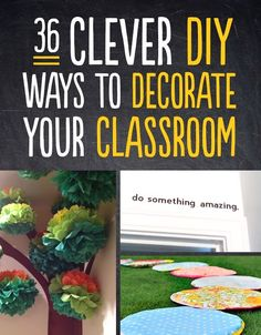 Time to jazz up the yearbook room - 36 Clever DIY Ways To Decorate Your Classroom. wonder if the school i'll be working at will allow this kind of decorating? Classroom Organisation, Teacher Organization, Classroom Design, Classroom Displays, Teacher Hacks, Kindergarten Classroom, Art Classroom, Future Classroom, Classroom Themes